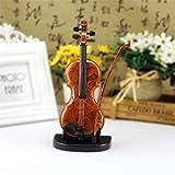 ZYJT Hand Bemalt Violine Spieluhr Verzierungen Niedliche Mini Spieluhr Geige Miniatur Handwerk Hauptdekoration (Color : Brown, Size : 22.5 * 10.5cm)