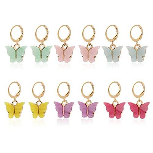 GWN Pendientes de Mariposa simulados de aro Grande, Pendientes Bonitos hipoalergénicos con Mariposa Huggie, joyería para Mujeres y niñas
