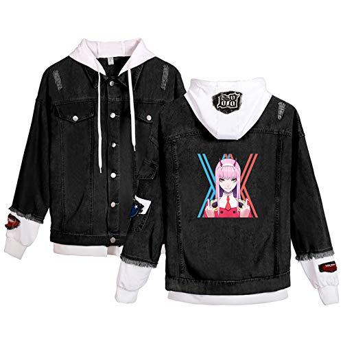 ZOSUO Unisex Jeansjacke Darling in The FranXX Sweat-Jacke Kapuzenjacke Langarm Zero Two Denim Jacke Hoodie Casual Jacket Outwear Mäntel für Teenager Mädchen Jungen,M