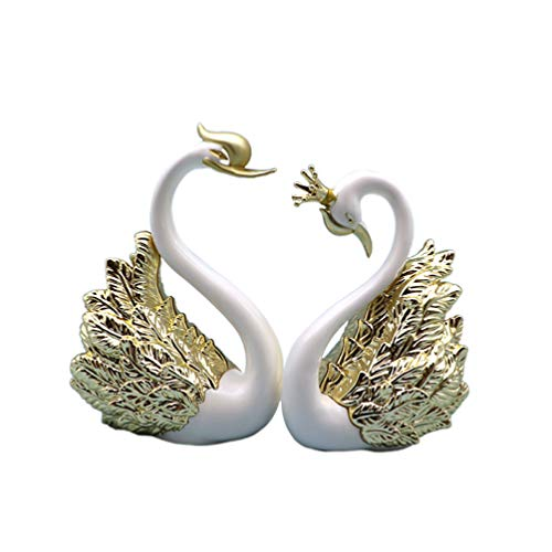 VOSAREA 2ST Schwan Figur Kuchen Topper Tier Skulptur Kuchen Dekoration Fairy Garden Miniatur Ornament