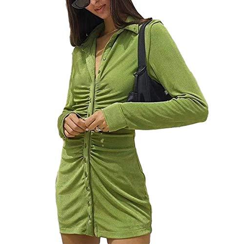 Vestido elegante de terciopelo de manga larga para mujer, Y2k, estilo vintage, con botones, color sólido, con fruncido, parte delantera, bodycon