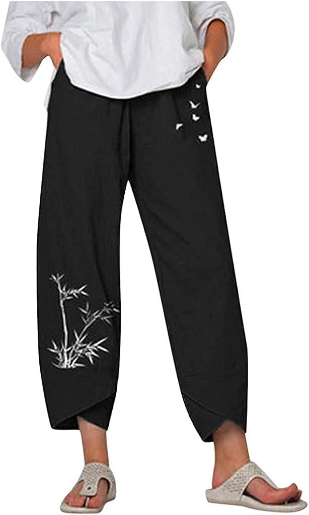GADSUVI Summer Pants for Women Casual Pockets Cotton Linen Wide Leg Drawstring Elastic Waist Capris Crop Pants
