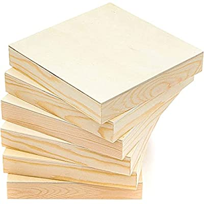 Unfinished Wood Paint Panel Boards (5 x 5 in, Square, 6 Pack)