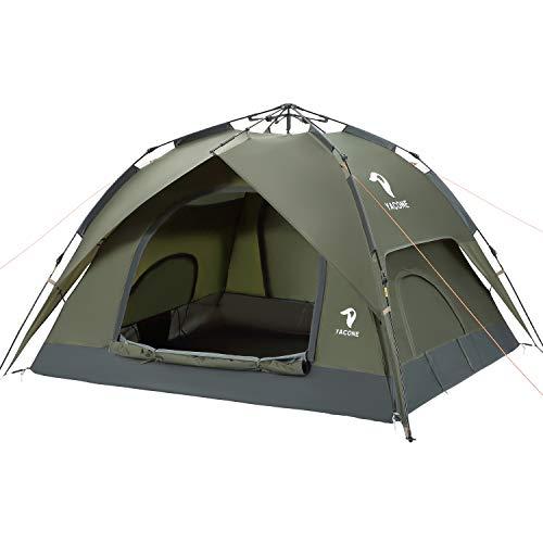 YACONE テント 3~4人用 ワンタッチテント 二重層 ワンタッチ 2WAY キャンプテント 設営簡単 コンパクト テント uvカット加工 折りたたみ ソロ テント 軽量 防災用 キャンプ用品 アウトドア