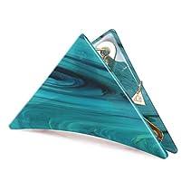 べっ甲風 レディース髪飾り ヘアアクセサリー KOLOVEADA トライアングルヘアクリップ シンプル 三角 髪留め ターコイズブルー Lサイズ