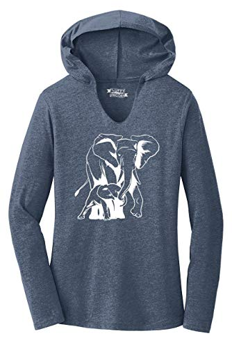 Ladies Hoodie Shirt Elephant Graphic Elephant Mom and Calf Navy Frost 2XL