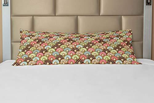 ABAKUHAUS Goûter Taie de Traversin avec Fermeture à Glissière, Petit-déjeuner Savoureux, Taie d'oreiller Longue Décorative, 53 x 137 cm, Multicolore