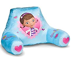 Doctor McStuffins reading pillow Sky blue back ground with pink hearts