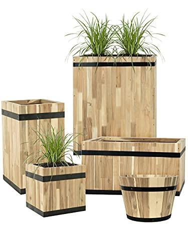 Pflanzwerk® Pflanzkübel Cup Holz Ø46cm 100% Bio-AKAZIENHOLZ Weinfass Holzfass *Frostbeständiger Blumenkübel* *Bio Pflanzenkübel* *Nachhaltige Qualitätsware*
