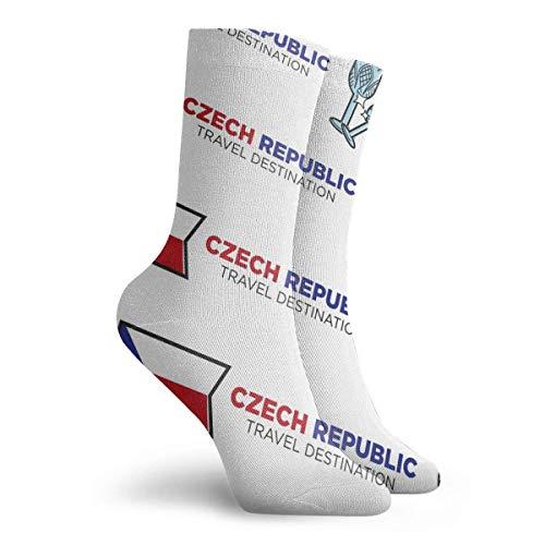 Tammy Jear Männer Frauen Kleid Socken Kristallglas Flagge Tschechische Republik Rohr Knie Langschlauch