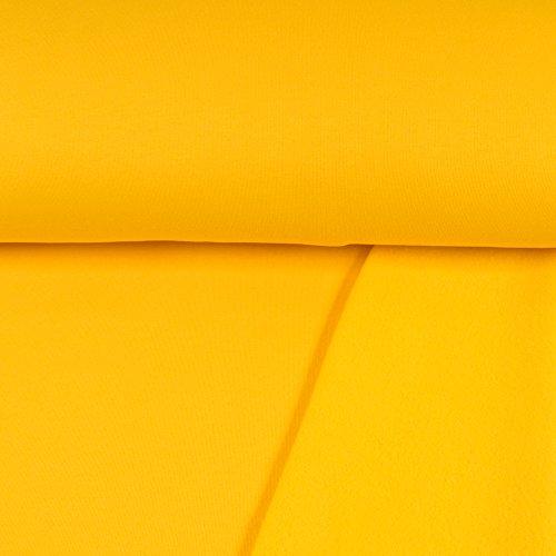 Sweatshirt Stoff Uni gelb Sweat weiche angeraute Rückseite einfarbig kuschelig Meterware - Preis Gilt für 0,5 Meter