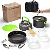2BK Camping Cookware Mess Kit Stove Canister Stand Tripod Outdoor Hiking Picnic Non-Stick Cooking Backpacking with Folding Knife and Fork Set Mess Kit