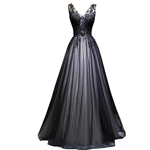 Kivary Plus Size Long V Neck Sheer Top Beaded Lace Prom Evening Dresses Silver Black US 22W