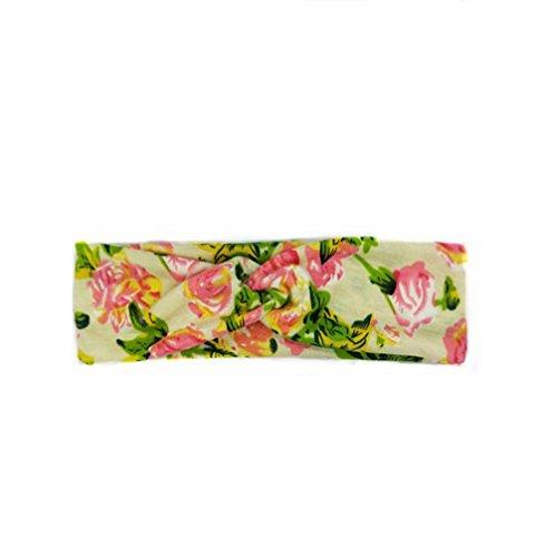 Demarkt 1 Pcs Motif Floral Femme Bande de Cheveux de Soie Traverser Headband Elastique Extensible Hairband 22 * 6.5cm