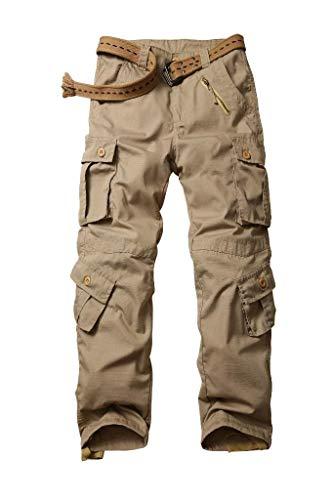 TRGPSG Hommes Pantalon Cargo Pantalon de Militaire,Casual Pantalon Multi Poche Camo Cargo Sports De Combat Pantalons en Coton pour Home 5335 Kaki 44