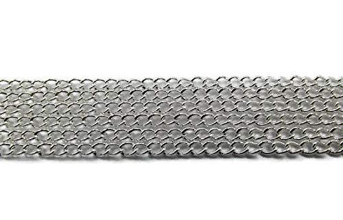 Catena a maglie argentata, 10 m 3 x 2,2 mm