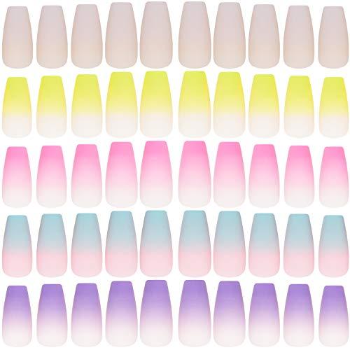 120 Pieces Long Ballerina Press on Nails Matte Coffin False Nails Gradient Fake Nails Full Cover Fake Fingernails Artificial Nails for DIY Nail Art Salon Women Girls