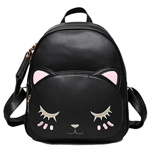 Rucksack niedlich Katze Cartoon Katze Rucksack Verstellbaren Riemen Leder Rucksäcke mit geldbörse Für Mädchen Damen Student