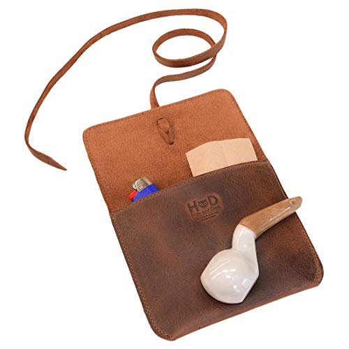 Hide & Drink, Leather Tobacco & Pipe Pouch Storage Case, Bag Holder, Portable Smoking Accessories for Travel, Handmade Includes 101 Year Warranty :: Bourbon Brown