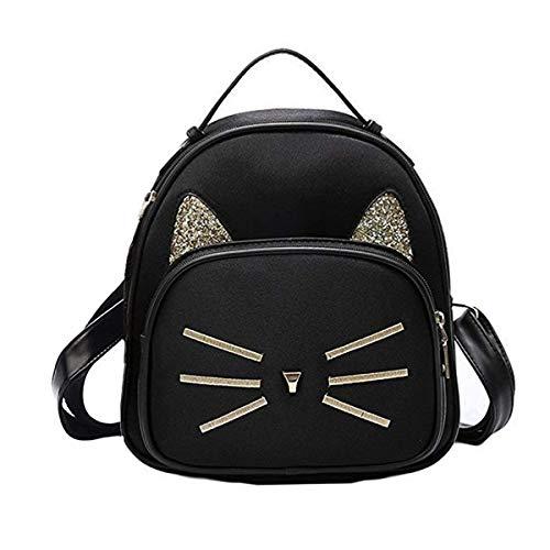 Teen Girls Cute Cat Velvet Backpack Daypack Portable Shoulder Bag,Small