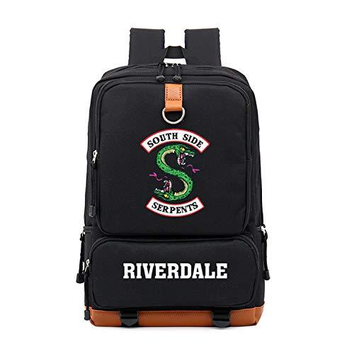 Memoryee Casual School Backpack Riverdale Southside Serpents Print Laptop Rucksack Multi-Functional Daypack Book Satchel Black