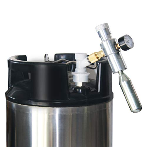"""Beer Keg Charger CO2 Dispenser - Includes Keg Regulator 0-30 PSI, 3/8"""" Thread Adapter, Gas Ball Lock Quick Disconnect for Homebrewing"""