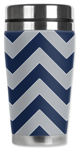 Mugzie Cowboys Football Colors Chevron Travel Mug with Insulated Wetsuit Cover, Multicolor by Mugzie
