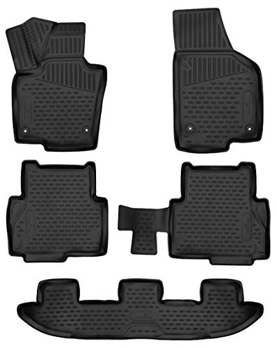 Walser XTR Gummifußmatten kompatibel mit VW Sharan/Seat Alhambra (710, 711) Baujahr 2010 - Heute, passgenaue Auto Gummimatten