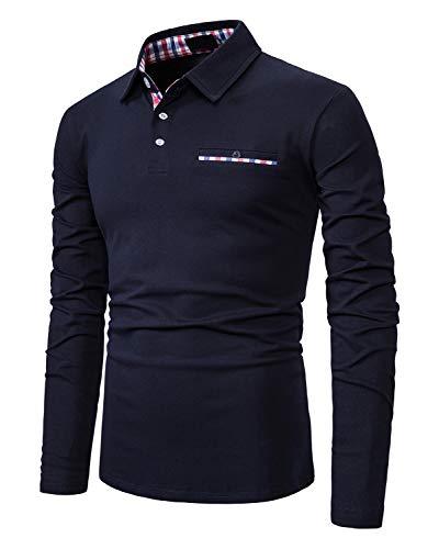XXIE Herren Poloshirt Langarm Einfarbig Freizeit Kariert Polo Kragen Polohemd Blau Medium