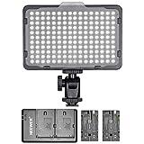 Neewer 調光176 LEDビデオライト 2個バッテリーとusb電池充電器付き Canon、Nikonと他のデジタルSLRカメラに対応 ビデオ撮影用