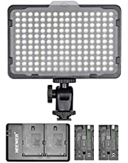 Neewer Dimmable 176 LED Video Light with 2-Pack 2600mAh Li-ion Battery and Dual USB Battery Charger Lighting Kit for Canon, Nikon and Other Digital SLR Cameras for Photo Studio Video Shooting