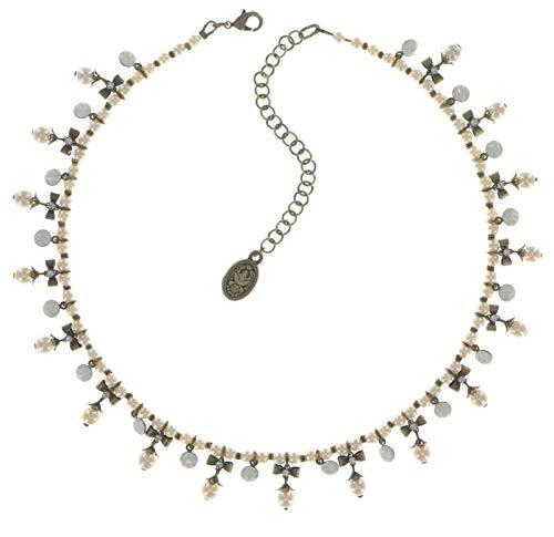 Konplott Halskette Pearl`n`Ribbons White Antique Brass