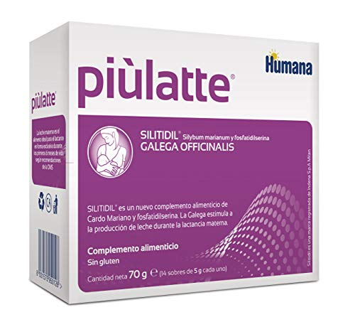 Humana Piùlatte extractos de hierbas que estimulan la producción de leche materna. Complemento Alimenticio para madres en periodo de lactancia, 14 sobre de 5g