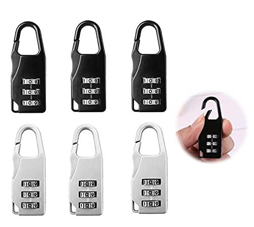 Dingzing 6 Piezas Candado de combinación,3 Dígitos Seguridad Candado Equipaje Maletas Bloqueo de Código Seguridad Candados de Viaje para Mochilas Casilleros para Bolsa de Viaje Maleta Equipaje