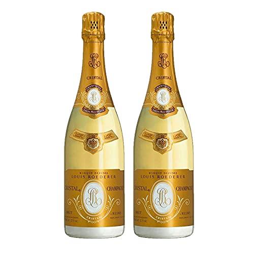 Vino Espumoso Brut Cristal de 75 cl - D.O. Champagne - Bodegas Louis Roederer (Pack de 2 botellas)