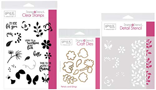 Gina K Designs Stamp n Stencil - Petals & Wings - Clear Stamps, Steel Dies, Detail Stencil and Stamp Storage Pocket