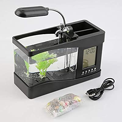 ZengBuks Neue USB Desktop Mini Aquarium Aquarium LCD Timer Clock LED Lampe Licht schwarz Worldwide Store - schwarz
