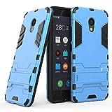 tinyue® Handyhülle für Meizu M5C, Hülle 2 in 1 Material Harte Schwer doppelte kratzfester Handyfall im Freienhandyfall Iron Man Rüstung mit Kickstand Hülle, Blau