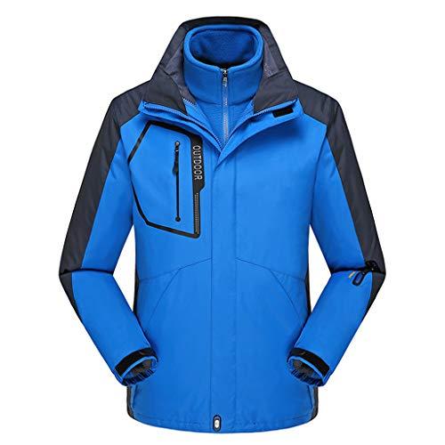 Outdoorjacke Regenjacken für Herren 3 in 1 wasserdicht Jacke Atmungsaktiv Winddicht Warm halten Packaway Windbreake Regenmantel Geeignet für Camping Skifahren im Freien,Blue-4XL
