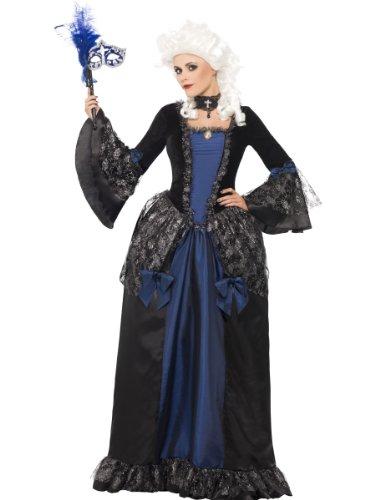 Smiffys Damen Barocke Schönheit Maskerade Kostüm, Kleid mit Peplums, Größe: M, 25438