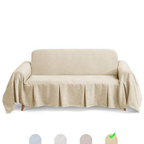 TAOCOCO Sofadecke Sofaüberwurf Sofabezug Bedspread Plaid Picknickdecke (Beige, 3 Sitzer (320 x 210 cm))