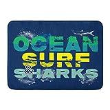 Fußmatten Bad Teppiche Outdoor/Indoor Fußmatte Blue Fish of Ocean Surf und Shark Graphics Surfbrett Beach Board Badezimmer Dekor Teppich Badematte