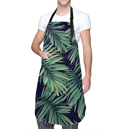 XHYYY wasserdichte Schürze mit Taschen, Dunkles tropisches Muster exotische Pflanzen nahtlos verstellbare Sicherheitsschürze, Kochschürze, Kochschürze Männer Frauen Küchenschürze, chemische Schürze