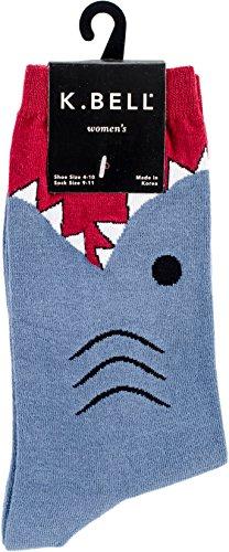 K. Bell Women's Wide Mouth Leg Eating Novelty Casual Crew Socks, White Shark (Slate Blue), Shoe Size: 4-10