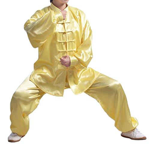 Andux Kampfsport Tai Chi Anzug Kung Fu Uniformen Unisex SS-TJF01 (Gelb,XXL)