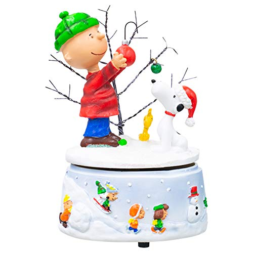 Charlie Brown and Snoopy Snowy White Glitter 7 x 5 Resin Holiday Musical Figurine