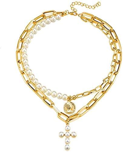 LLJHXZC Collar De Cadena De Eslabones con Diseño De Perlas De Imitación, Gargantilla, Collar con Colgante De Cruz Femenina para Joyería De Mujer