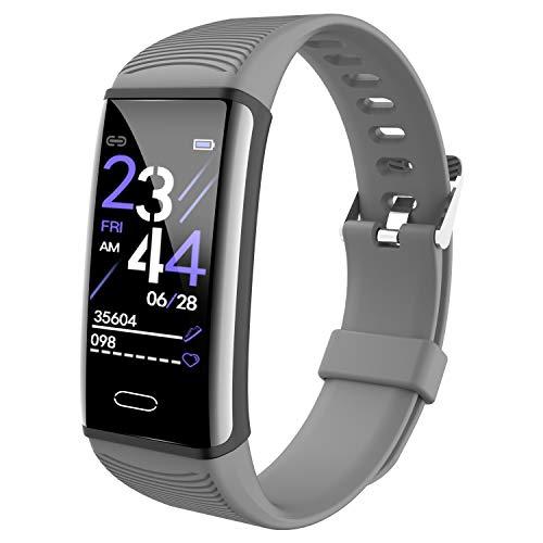 CORN Schermo a Colori Fitness Tracker, Activity Tracker con Frequenza Cardiaca Sleep Monitor, IP68 Impermeabile Pedometro Orologio con Contatore di Calorie per Uomini e Donne, Android iOS (Gray)