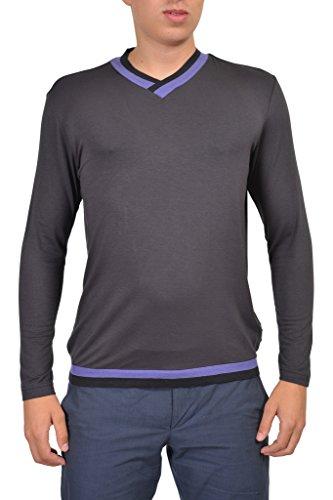 Armani Collezioni Gray V-Neck Men's Sweater US XL IT 54;