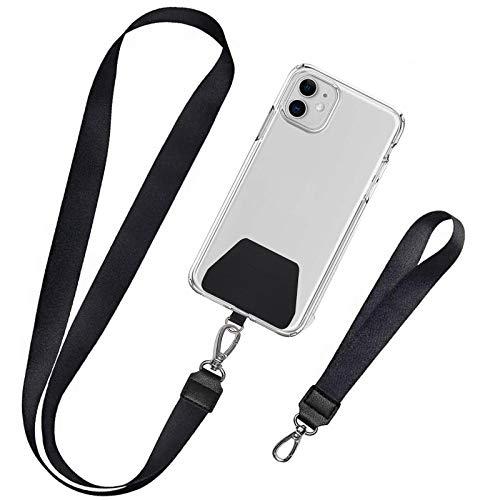 takyu 2 Stück Handykette, Unisex Schlüsselband Universale Umhängeband Ausziebar Karabinerhaken für Alle Handys Landyard(1 Halsband+1 Handschlaufe, Schwarz)